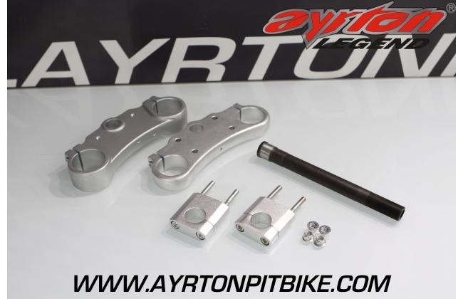 Pit Bike Steering Plates Kit Aluminum Cnc Silver