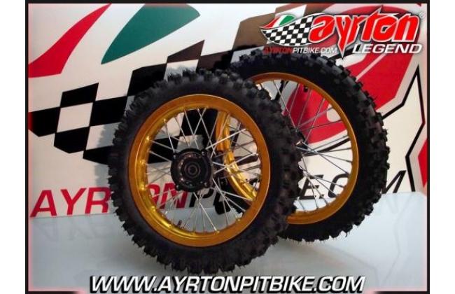 Pair Of Cross Rims 12/14 Alu Gold Pit Bike
